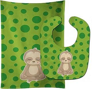 Caroline's Treasures Sloth Yoga Baby Bib & Burp Cloth, Multicolor, Large