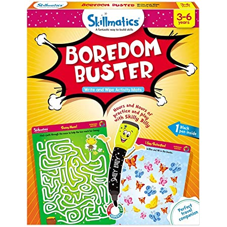 Skillmatics Educational Game: Boredom Buster (3-6 Years) | Creative Fun Activities for Kids | Erasable and Reusable Mats