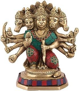 Five Face Panchmukhi Hanuman Statue Monkey Idol Brass Sculpture Figurine Decor Gift