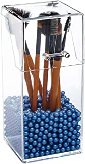 Yoelrsa Acrylic cosmetic brush organizer with cover, Makeup Brush Collection box with free pearls, dustproof/Waterproof cosmetic holder (Quadrilateral, Blue)