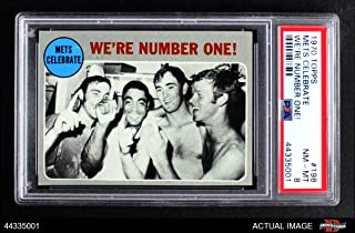 1970 Topps # 198 1969 NL Playoff - Summary - Mets Celebrate Nolan Ryan/Tommie Agee/Duffy Dyer Mets/Braves (Baseball Card) PSA 8 - NM/MT Mets/Braves