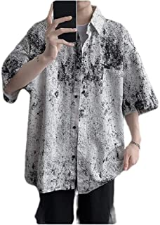 neveraway Men's Summer Button Short Sleeve Floral Printed Casual Loose Shirts