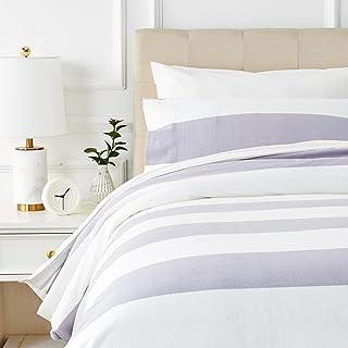 Amazon Basics - Juego de cama de franela con funda nórdica - 135 x 200 cm/50 x 80 cm x 1, Rayas grises