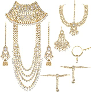 Aheli Ethnic Indian Traditional Bollywood Fashion Kundan Bridal Jewelry Set with Choker Earrings Maang Tikka Hathphool for...