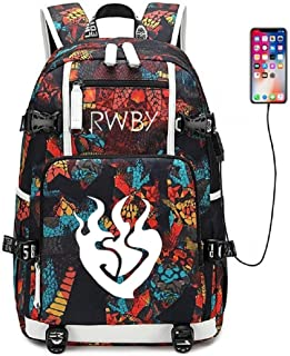 Siawasey Luminous Anime RWBY Cosplay Ruby Rose Backpack Daypack Bookbag School Bag with USB Charging Port