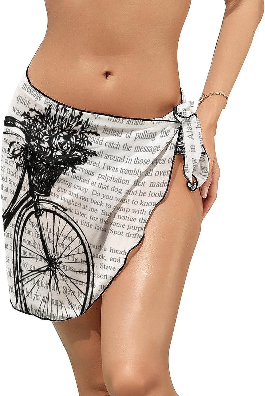 Women Beach Wrap Skirts Vintage Article Bicycle Personalized Bikini Swimwear Beach Cover Up