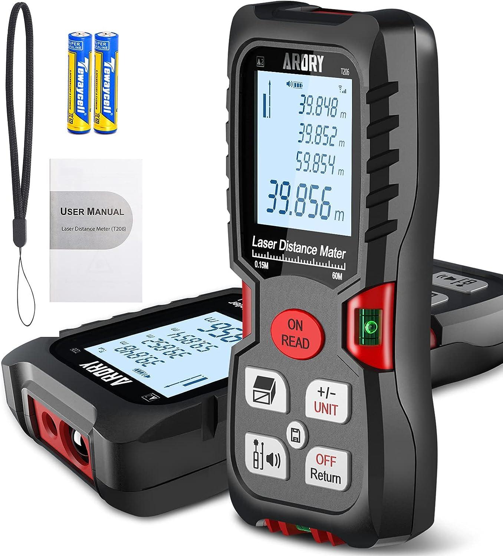 Medidor Láser, ARORY Telémetro Láser 60m/197ft, Metro Laser de ±1mm Precisión con 2 Niveles de Burbuja y Pantalla Retroiluminada LCD, para Medición de Pitagórico, Distancia, Área y Volumen, IP