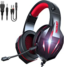 TYUOBOX Gaming Headset with Microphone for PS4, Xbox One, PC, Over Ear Headphones with Mic, Wire, Noise Cancelling LED Light, Bass Surround for Playstation Nintendo PS3 Games (Black Red)