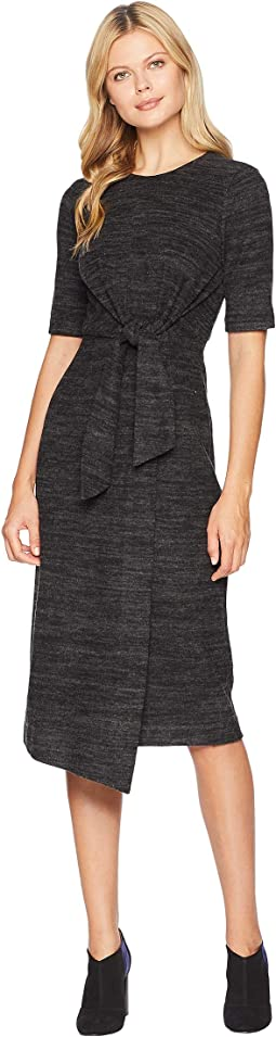 Comfy Brushed Knit Tie Front Midi Sheath