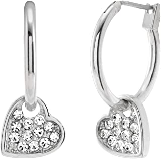 Sweetheart Dangle Hoops Sparkle Austrian Crystal Heart Silver Tone Two-in-One Earrings with Comfort Light Weight Hypoallergenic Stainless Steel in Velvet Gift Bag