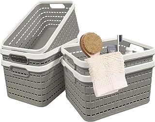 "ESPEN Plastic Storage Basket 9.0""x6.9""x4.7"", 5 Pack Plastic Storage Organizer Bins for Storage, Portable Stackable Weave S..."