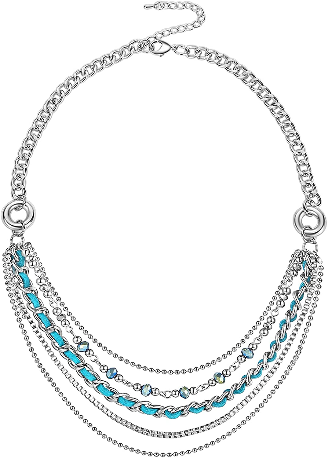 Layered Silver Chain Necklace San Antonio Mall for Award Punk Statement Women
