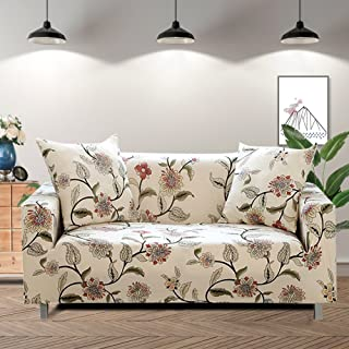 Lamberia Printed Sofa Cover Stretch Couch Cover Sofa Slipcovers for 3 Cushion Couch with Two Pillow Cases (3 Seater, New Blooming Flower)