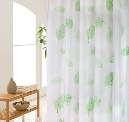 Wimaha Green Shower Curtain, Leaves Shower Curtain Liner Plastic, Waterproof Bathroom Curtain Mildew Resistant, Clear Shower Liner Decorative for Bathtub, with Shower Curtain Hooks, 72x72In