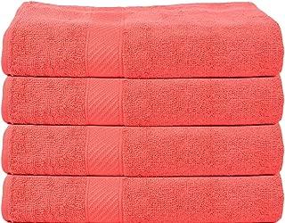 TRIDENT Premium 400 GSM Cotton 4 Pack Bath Towels Set, Neon Orange