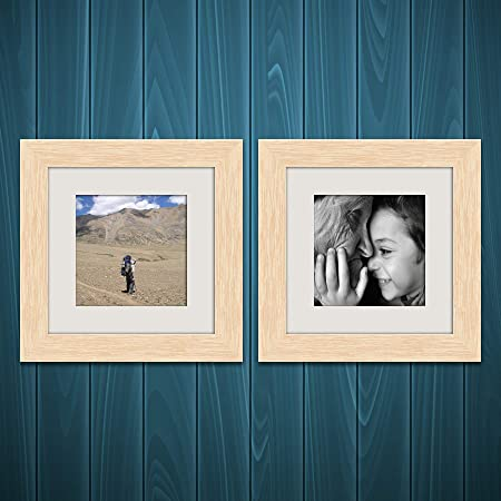 ArtzFolio Wall & Table Photo Frame D479 Natural Brown 6x6inch;Set of 2 PCS with Mount
