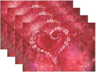 Naanle Valentine's Day Placemat Set of 6, Floral Red Heart Heat-Resistant Washable Table Place Mats for Kitchen Dining Table Decoration
