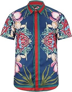Men's Short Sleeve Luxury Print Button Dress Shirt