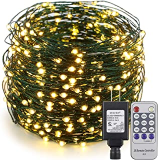 ER CHEN 165ft Led String Lights, 500 Led Starry Lights on 50M Green Copper Wire String Lights Power Adapter + Remote Control(Warm White)
