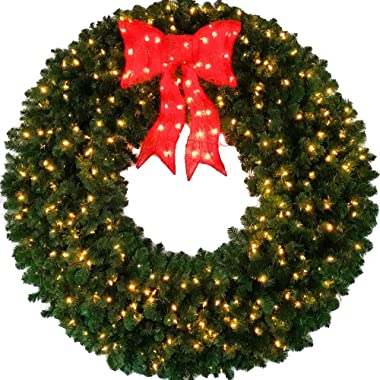 5 Foot L.E.D. Christmas Wreath with Pre-Lit Red Bow - 60 inch - 400 L.E.D. Lights - Indoor - Outdoor
