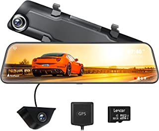 """WOLFBOX 12"""" 2.5K Mirror Dash Cam for Cars, Full HD 1440P Front and 1080P Rear camera, Dual Car Camera with Waterproof Back..."""