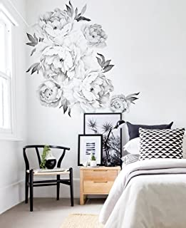 Simple Shapes Peony Flowers Wall Sticker - Black & White - by