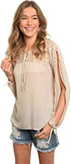 Women Beige Lace Eyelet Cotton Long Sleeve Blouse Tunic Top Casual