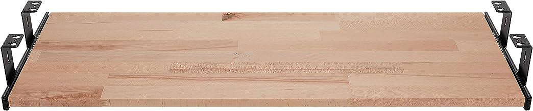 FIX&EASY Ladegeleiders voor toetsenbordlade met plank 600X400mm beuken massief, geleiderails zwart 400mm, complete set toe...