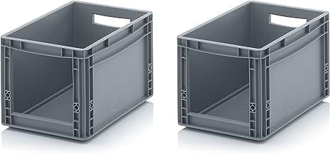 2x Euro Sichtlagerkasten 40 x 30 x 27 cm inkl. gratis Zollstock * Eurobehälter mit Fenster, 2er Set