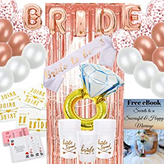 Mordesso Bachelorette Party Decorations Kit with Sash – Rose Gold Bridal Shower Party Supplies Include Balloons, Veil, Card Game, Tattoos, Foil Curtain and Drink Cups – Plus Downloadable E-Book