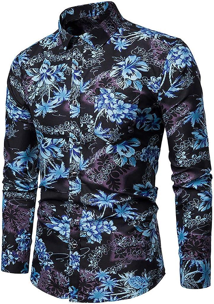 MODOQO Shirt for Men-Summer Casual Standard-Fit Long Sleeves Comfortable Leisure Shirt