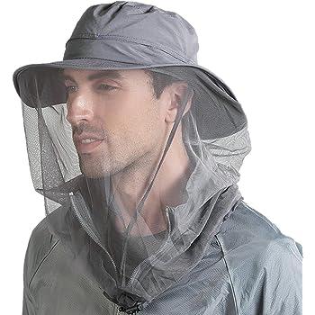 Flammi UPF 50+ Fishing Hat w/Head Net Sun Protection Safari Boonie Hat Cap Outdoor for Men/Women