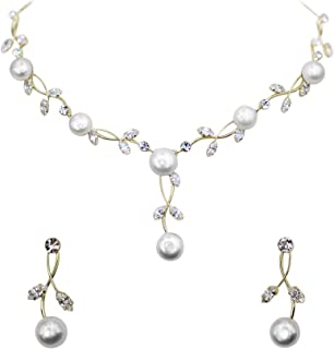 Faship Gorgeous CZ Crystal Shell Pearls Floral Necklace Earrings Set