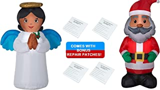 African American Black Angel (3.5 Feet) and Santa (4 Feet) Holiday Yard Inflatable Duo, Includes a Bonus Inflatable Patch Kit