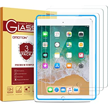 "[3 Pack] iPad 9.7 6th Generation Screen Protector, OMOTON Tempered Glass Screen Protector for Apple iPad 9.7"" (2018 & 2017) / iPad Pro 9.7 Inch / iPad Air 2 / iPad Air 9.7 Inch"