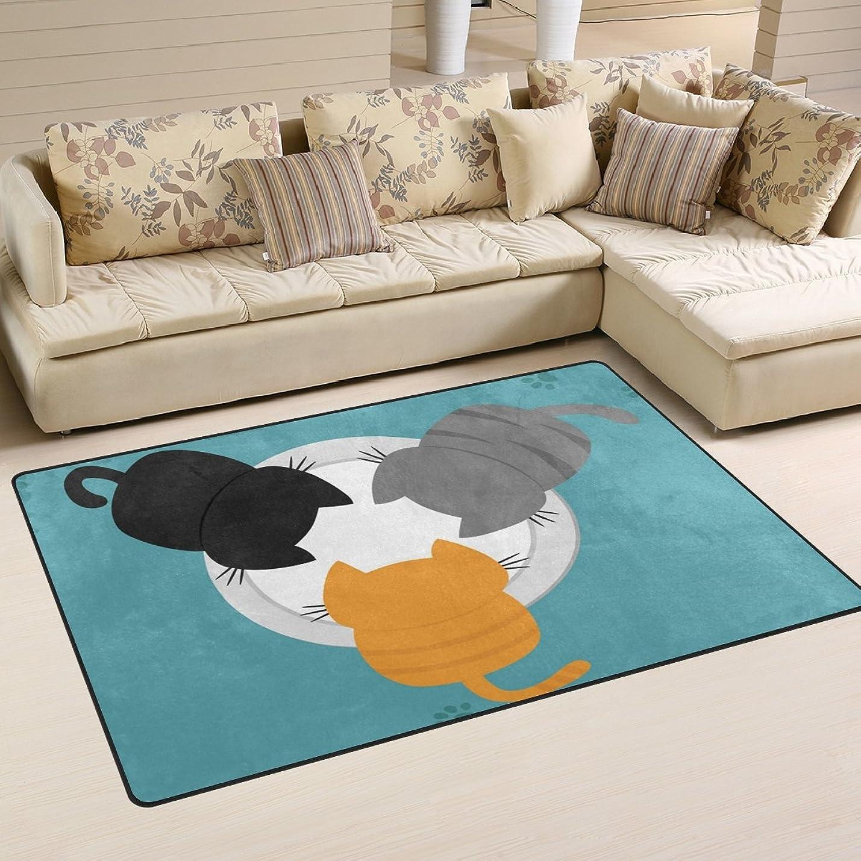 有能なやろう防衛バララ(La Rose) ラグ カーペット マット 洗える おしゃれ 滑り止め 絨毯 ネコ 猫柄 ホットカーペット ウォッシャブル 心地よいサラふわ触感 折り畳み可 床暖房 対応 約幅152x99cm