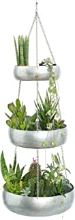 3 Tier Galvanized Hanging Planter Tray for Outdoor & Indoor Plants, Boho Chic Iron Pot, Large Succulent Pots & Flower Hanger for Patio, Window, Garden, Balcony, Modern Tiered Hang Basket for Any Decor