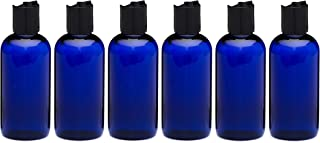 Newday Bottles, 4 Oz Empty Plastic Bottles BPA-Free Made in USA with Disc Cap Lids (Blue with Black Cap)