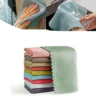 5/10 stks Glasveegdoeken Visschubben Designdoek Stofreinigingsdoek Water, Microfiber Polijstdoek, voor het reinigen van sp...