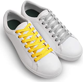 Miscly Flat Metallic Shoelaces [2 Pairs: 1 Pair Gold + 1 Pair Silver] 5/16