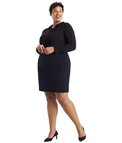 M.M. LaFleur Plus Size Crosby Skirt Textured Ponte (Galaxy Blue) Women