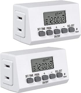BN-LINK Mini Indoor Easy Set Stackable 24-Hour Digital Outlet Timer 2-Prong 2 On/Off Programs (2 Pack) Compact For lights ...