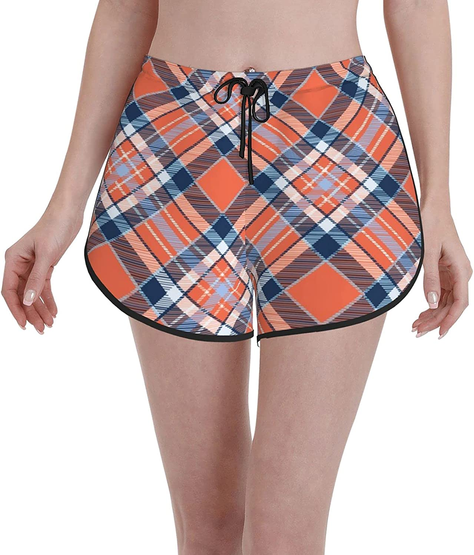 Minalo Women's New color High material Girl's Swim Trunks Junction and Orange Blue