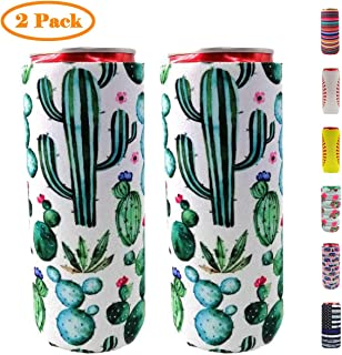 Neepanda Slim Can Coolers 2 Pcs - Collapsible Neoprene Coolers for 12oz Tall Skinny Cans like Red Bull, White Claw, Slim Beer and Spiked Seltzer Water (Green Cactus)