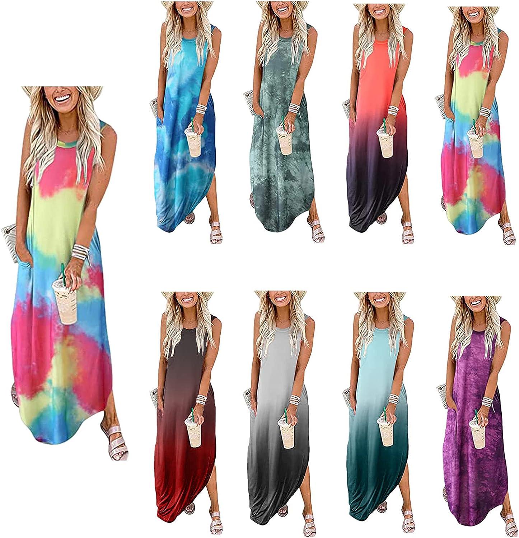 Women's Casual Loose Pocket Long Maxi Dress Tie Dye Gradient Sleeveless Split Round Neck Tank Dresses