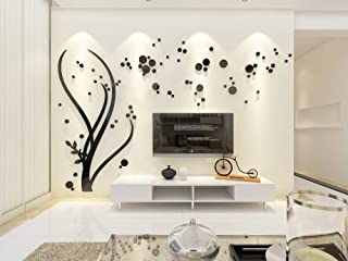 Wowelife 3D Wall Sticker Mirror Tree Wall Decal Home Decor Living Room Bedroom TV Background Black Tree Stickers(Black Left Tree, M)