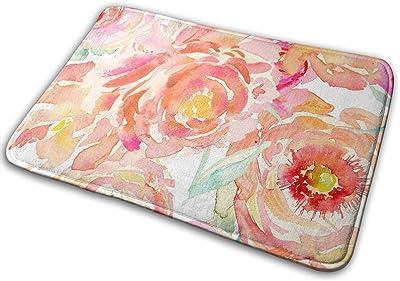 Non-Slip Doormats Peach Entrance Rug Indoor/Outdoor Carpet Absorbs Moisture Washable Dirt Trapper Mats