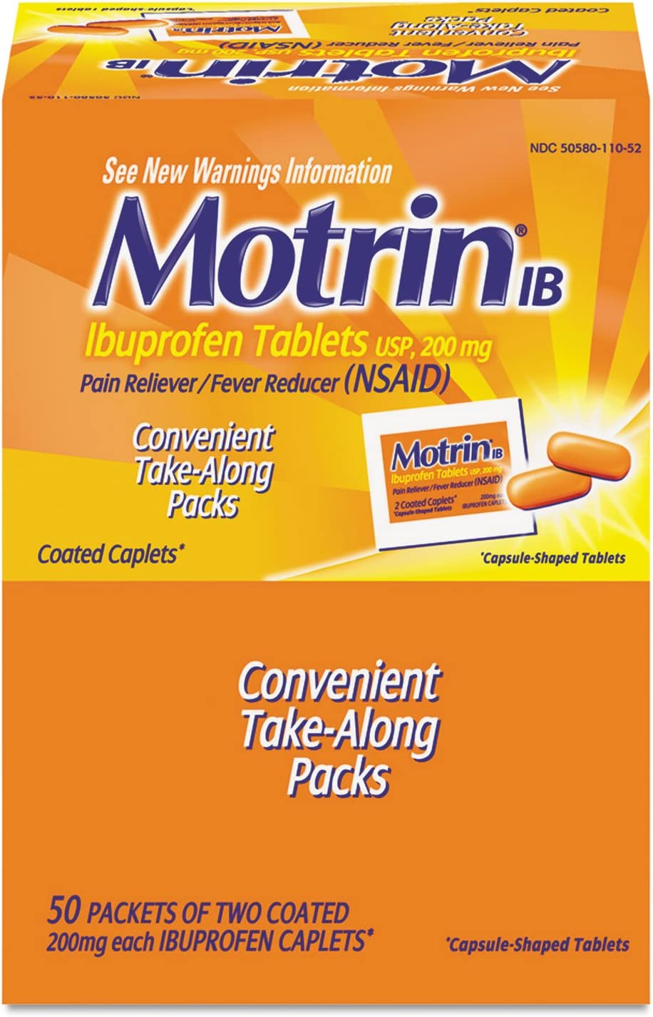 Ibuprofen Tablets, 50 Packets of 2 per Box