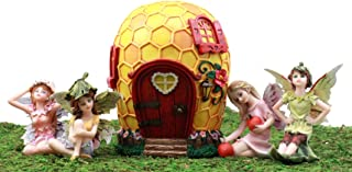 Ebros Gift Enchanted Fairy Garden Miniatures Starter Kit Fairy Cottage Landmarks with Four Mini Fairies Figurine Set Do It Yourself Ideas for Your Home (Bumblebee Honeycomb Kit)