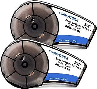 2-Pack Cloth Label Tape M21-750-499 Black On White Nylon Work with Brady BMP21-PLUS, ID PAL, LABPAL Printers - 16' Length, 0.75